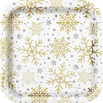 "Silver & Gold Holiday Snowflakes 9"" Dinner Plates (8)"
